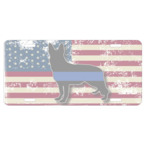Distressed American Flag with K9 Blue Line Sheppard dog License Plate  Design