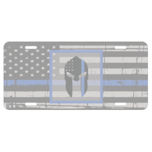 Distressed Thin Blue Line flag and the Spartan on Aluminum License Plate Design