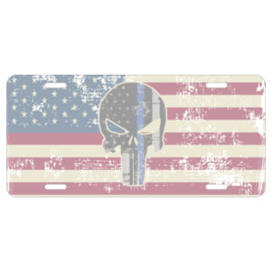 License Plate with American Flag with Spartan distressed  Design