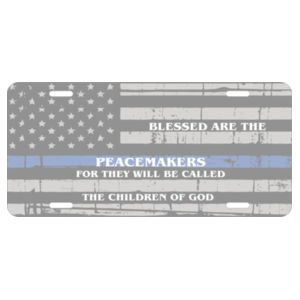 License plate Blessed are the Peacemakers Design