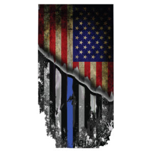 Men's Blackout Cotton Feel Dri-Fit T-Shirt America Thin Blue line Flag Design