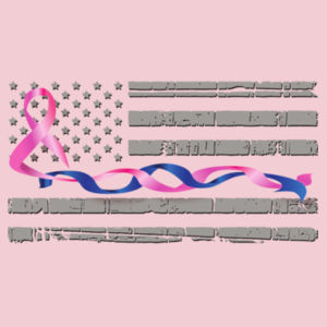 Women's Soft Feel Thin Blue Line Flag with Pink Twisted Ribbon V-neck T-shirt Design