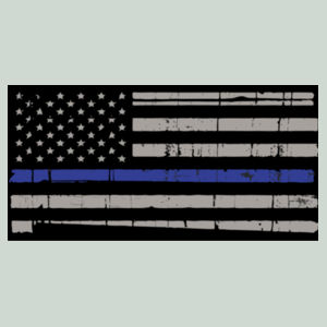 Men's Long Sleeve T-shirt with Distressed Thin Blue Line Flag Design