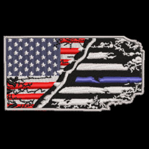 USA-Thin Blue line Flag Embroidery on Cool Mesh Fitted Cap Design