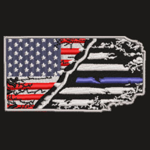 USA-Thin Blue line Flag Embroidery on Flexfit Cap Design