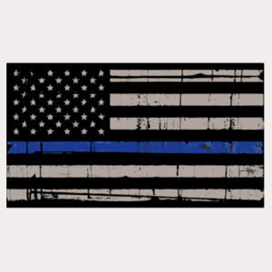 Men's Thin Blue Line Distressed Flag on Soft Cotton Feel T-Shirt Design