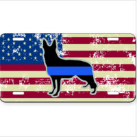 Distressed American Flag with K9 Blue Line Sheppard dog License Plate  Thumbnail