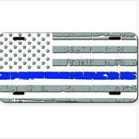 License Plate with Distressed Light Thin Blue Line Flag Thumbnail