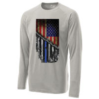 USA-Thin Blue Line Flag on Men's Soft Long Sleeve T-shirt  Thumbnail