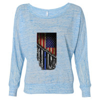 Women's Flowy Long Sleeve Tee with USA-Blue Line Flag Thumbnail