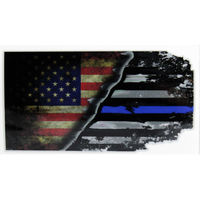 USA-Blue Line Flag on Outdoor Decal 4