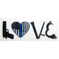 LOVE Thin Blue Line Vinyl Decal 4