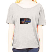 Ladies Slouchy T-shirt with USA-Blue Line Flag Thumbnail