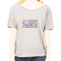 Ladies Slouchy T-shirt with Blue Line and Pink Ribbon Flag Thumbnail