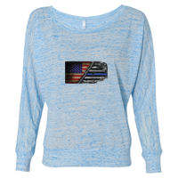 Ladies Long Sleeve Slouchy T-shirt with USA-Blue Line Flag Thumbnail