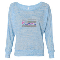 Ladies Long Sleeve Slouchy T-shirt with Blue Line and Pink Ribbon Flag Thumbnail