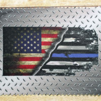 Lens Cloth USA-Blue Line Flag Metal Background Thumbnail