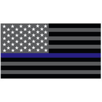 Thin Blue Line Grey Flag Decal 4