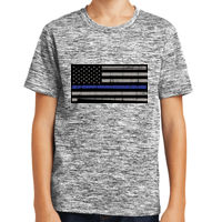 Youth  Blue Line Flag Distressed Black Background Thumbnail