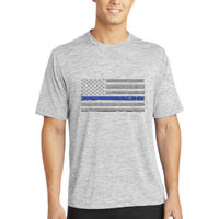Men's Thin Blue Line Flag Soft Printed on Heather T-Shirt Thumbnail