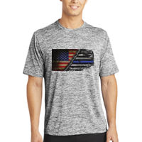Men's Heather Dri-Fit T-shirt with USA-Thin Blue Line Flag  Thumbnail