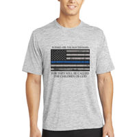 Men's Blessed Peacemakers with Distressed Blue Line Flag on Heather T-Shirt Thumbnail