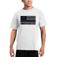 Men's Thin Blue Line Distressed Flag on Super Soft Raglan Sleeve T-Shirt Thumbnail