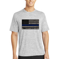 Men's Thin Blue Line Distressed Flag on Electric Heather T-Shirt Thumbnail