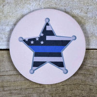 Thin Blue Line Star on Round Sandstone Coaster Thumbnail