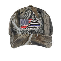 USA-Thin Blue line Flag Embroidery on Camo Cap Thumbnail