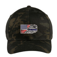 USA-Thin Blue line Flag Embroidery on Flexfit Cap Thumbnail