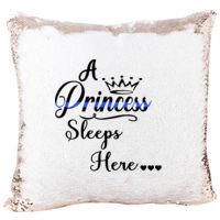 Blue Line A Princess Sleeps Here Sequin Pillow Thumbnail