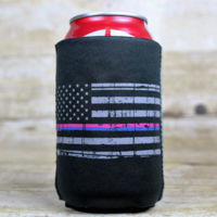 Can Cooler with Distressed Flag with Blue Pink Stripe Thumbnail