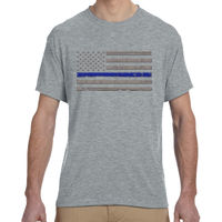 Men's Soft Cotton Feel Dri-Fit T-shirt with the Thin Blue Line Distressed Flag  Thumbnail