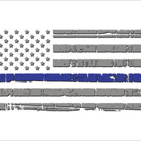 Thin Blue Line Light Distressed Flag Decal in 4in or 6in Thumbnail
