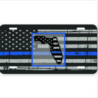 Distressed Thin Blue Line Flag with Florida License Plate Thumbnail