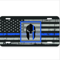 Distressed Thin Blue Line flag and the Spartan on Aluminum License Plate Thumbnail
