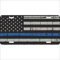 Thin Blue Line Flag on Aluminum License Plate  Thumbnail