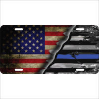 License Plate United States / Thin Blue Line Flag  Thumbnail