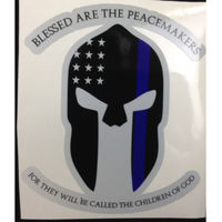 Spartan Thin Blue Line Decal with Blessed are the Peacemakers in Either 4 or 6in Thumbnail