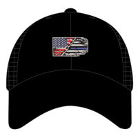USA-Thin Blue line Flag Embroidery on Cool Mesh Fitted Cap Thumbnail