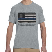 Men's Blessed Peacemakers with Distressed Blue Line Flag Soft T-Shirt Thumbnail