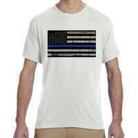 Men's Thin Blue Line Distressed Flag on Soft Cotton Feel T-Shirt Thumbnail